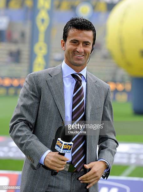 Christian Panucci of Sky TV during the Serie A match between Parma FC and AS Roma at Stadio Ennio Tardini on October 24 2010 in Parma Italy