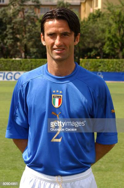 Christian Panucci of the Italian footlball team poses for photographer on May 27 2004 at Coverciano sports ground in Florence Italy The Italian team...