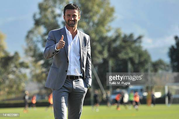 Christian Panucci poses after his presentation as a technical director for US Citta di Palermo at Tenente Carmelo Onorato Sports Centre on March 20...