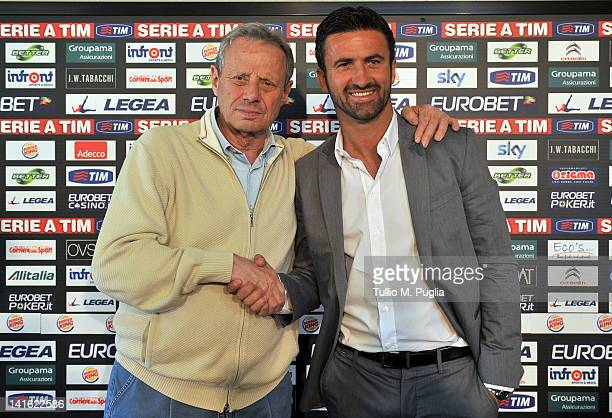 Christian Panucci poses with President of Palermo Maurizio Zamparini during his presentation as a technical director for US Citta di Palermo at...