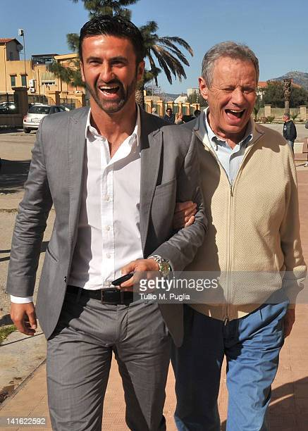 Christian Panucci smiles with President of Palermo Maurizio Zamparini before his presentation as a technical director for US Citta di Palermo at...