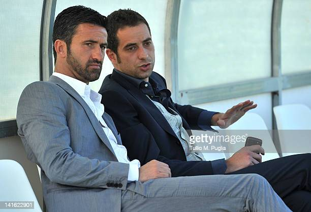 Christian Panucci speaks with Luca Cattani after his presentation as a technical director for US Citta di Palermo at Tenente Carmelo Onorato Sports...