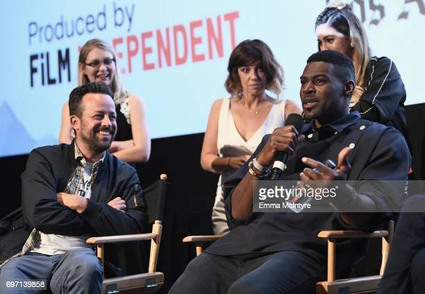 Christian Papierniak and Sheldon Bailey speak at the 'Izzy Gets The Fuck Across Town' and 'Ok Call Me Back' Premieres during the 2017 Los Angeles...