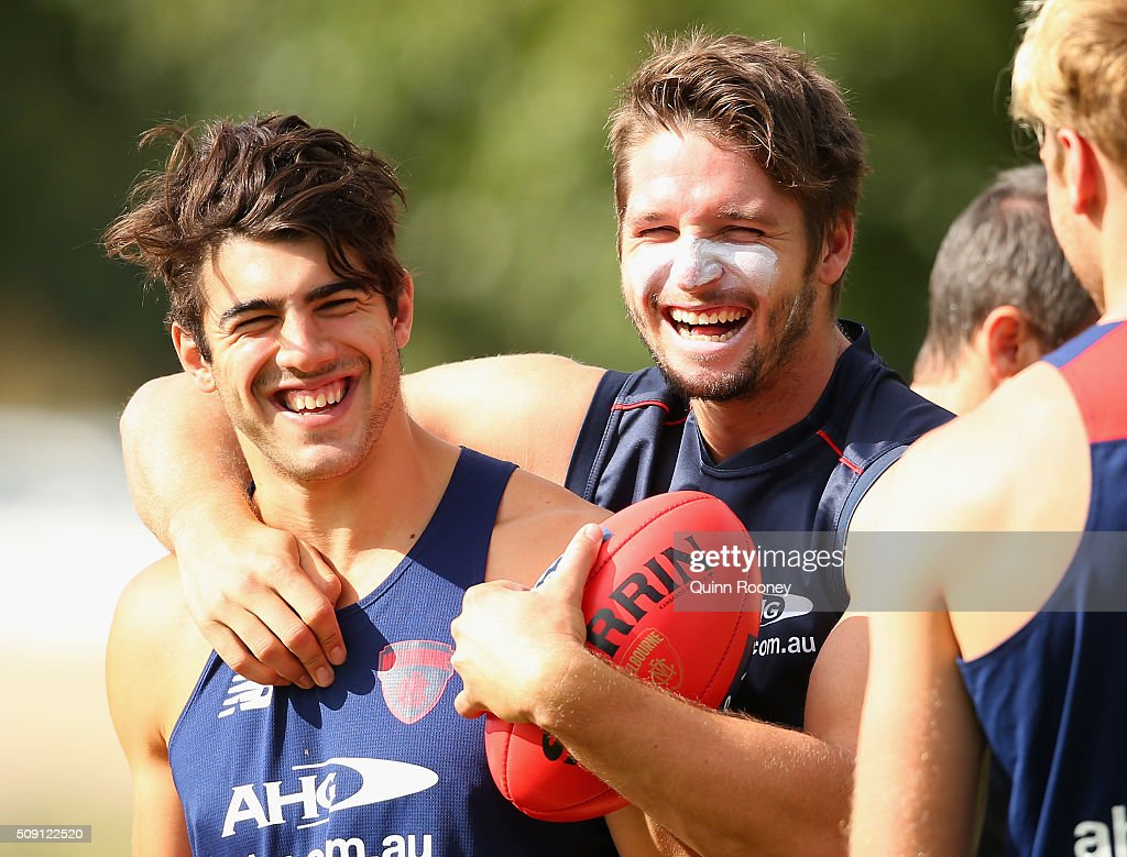 Christian Petracca and Jesse Hogan of the Demons have a laugh during a Melbourne Demons AFL pre-season training session at Gosch's Paddock on February 9, 2016 in Melbourne, Australia.