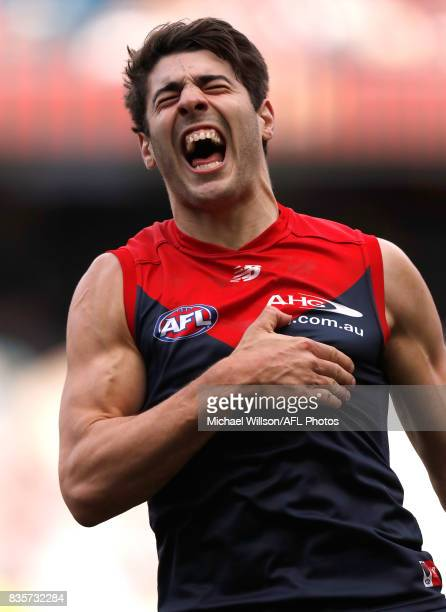 Christian Petracca of the Demons celebrates a goal during the 2017 AFL round 22 match between the Melbourne Demons and the Brisbane Lions at the...