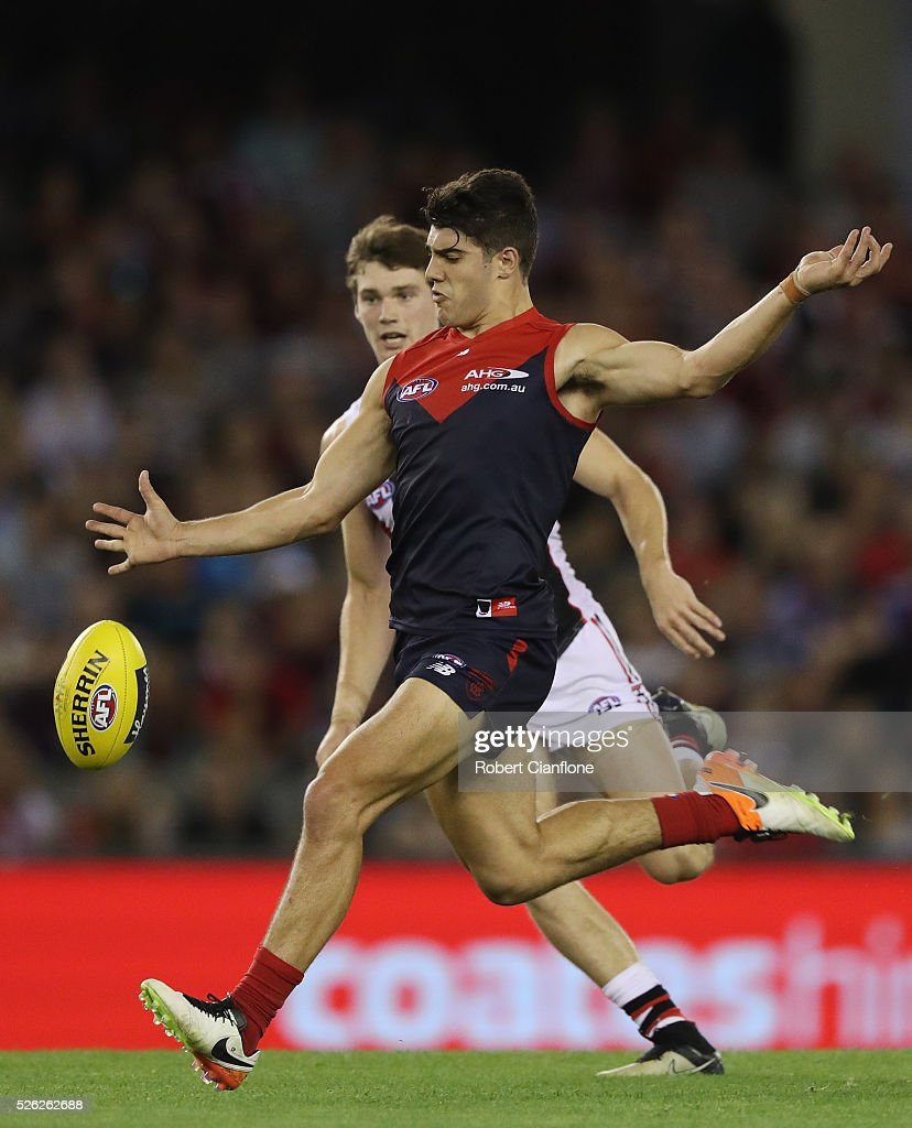 Christian Petracca of the Demons kicks the ball during the round six AFL match between the Melbourne Demons and the St Kilda Saints at Etihad Stadium on April 30, 2016 in Melbourne, Australia.