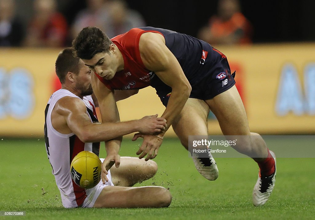 Christian Petracca of the Demons looks to get the ball during the round six AFL match between the Melbourne Demons and the St Kilda Saints at Etihad Stadium on April 30, 2016 in Melbourne, Australia.