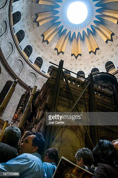 Christian pilgrims in Jerusalem's Holy Sepulchre