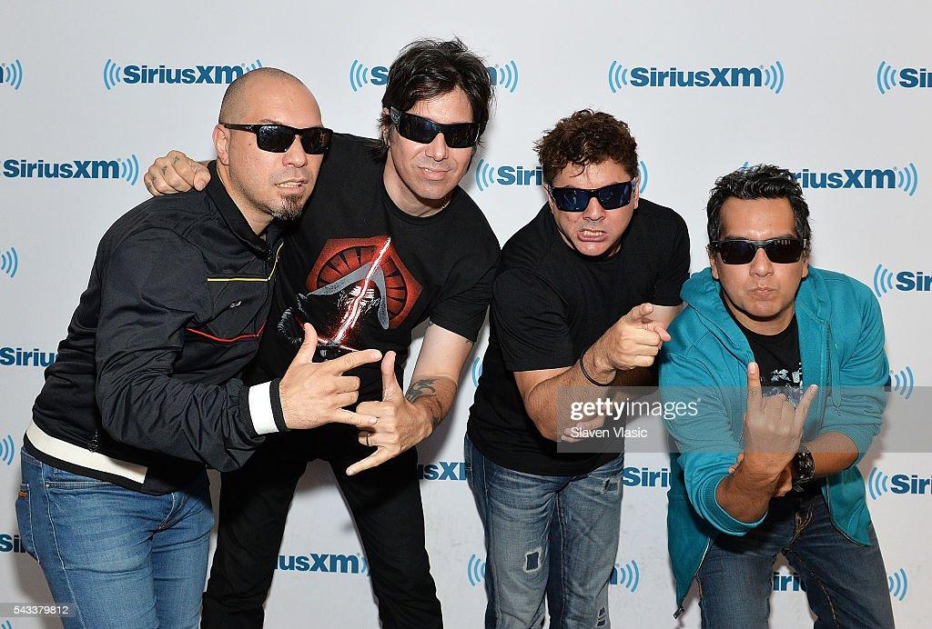 Christian 'Pipon' Torres, Emilio Regueira Perez, Javier Saavedra, Randy 'Salsa' Cuevas of Ska-Rock-fusion band 'Los Rabanes' visit SiriusXM Studios on June 27, 2016 in New York City.
