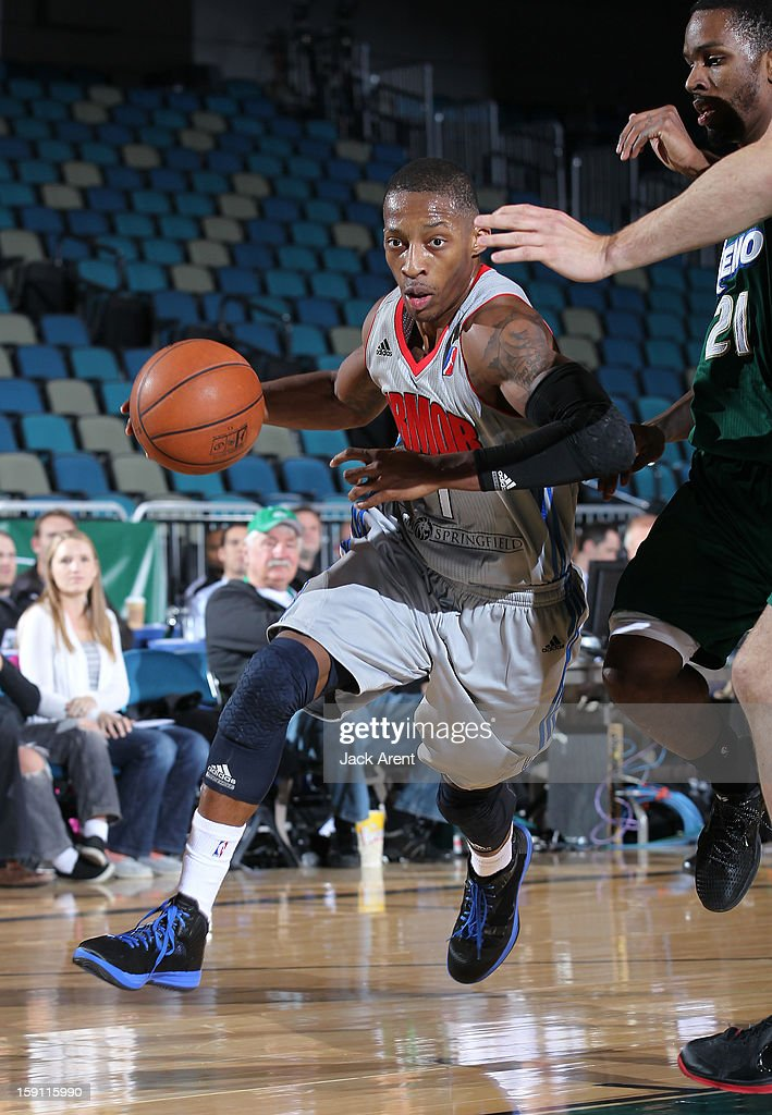Christian Polk #7 of the Springfield Armor dribbles the ball against the Reno Bighorns during the 2013 NBA D-League Showcase on January 7, 2013 at the Reno Events Center in Reno, Nevada.