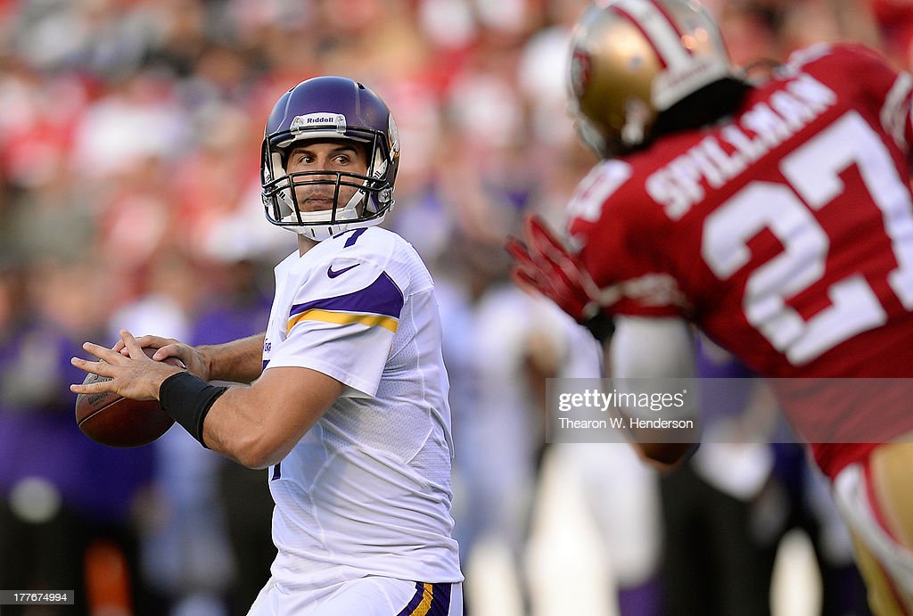 Christian Ponder #7 of the Minnesota Vikings drops back to pass in the first quarter against the San Francisco 49ers at Candlestick Park on August 25, 2013 in San Francisco, California.