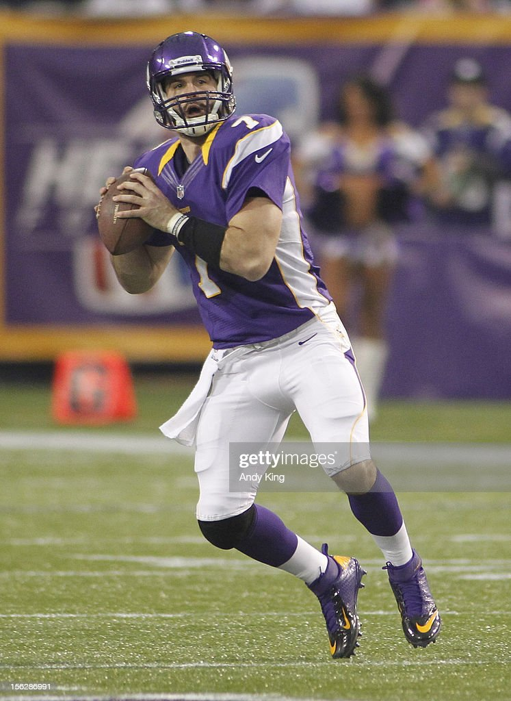 Christian Ponder #7 of the Minnesota Vikings looks to pass against the Detroit Lions on November 11, 2012 at Mall of America Field at the Hubert H. Humphrey Metrodome in Minneapolis, Minnesota.