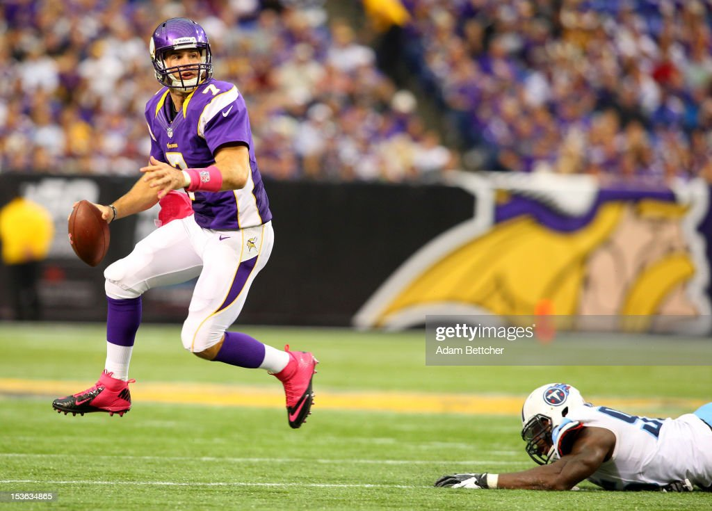 Christian Ponder #7 of the Minnesota Vikings looks to pass the ball against the Tennessee Titans at the Hubert H. Humphrey Metrodome on October 7, 2012 in Minneapolis, Minnesota.