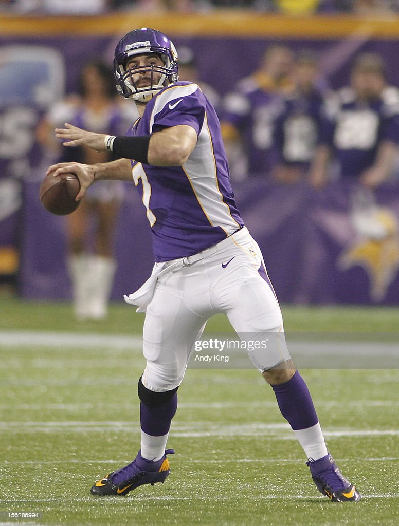 Christian Ponder #7 of the Minnesota Vikings passes against the Detroit Lions on November 11, 2012 at Mall of America Field at the Hubert H. Humphrey Metrodome in Minneapolis, Minnesota.