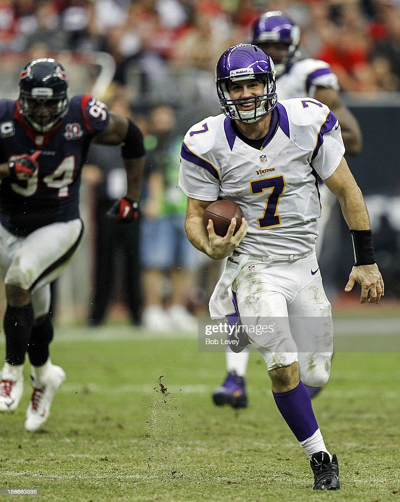 <a gi-track='captionPersonalityLinkClicked' href=/galleries/search?phrase=Christian+Ponder&family=editorial&specificpeople=4505733 ng-click='$event.stopPropagation()'>Christian Ponder</a> #7 of the Minnesota Vikings rushes against the Houston Texans at Reliant Stadium on December 23, 2012 in Houston, Texas. Minnesota Vikings defeat the Houston Texans 23-6.