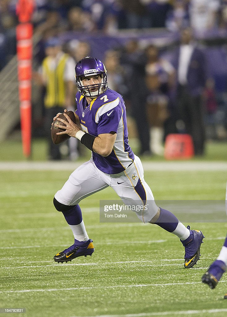 Christian Ponder #7 of the Minnesota Vikings scrambles during an NFL game against the Tampa Bay Buccaneers at Mall of America Field at the Hubert H. Humphrey Metrodome on October 25, 2012 in Minneapolis, Minnesota.