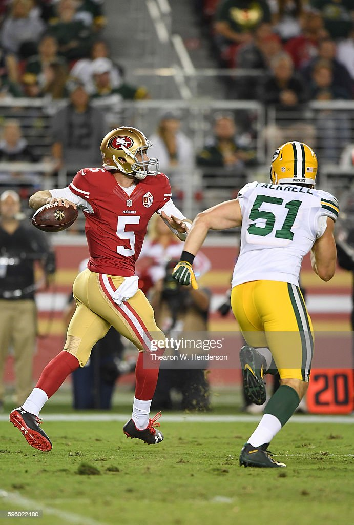 Christian Ponder #5 of the San Francisco 49ers looks to get his pass off under pressure from outside linebacker Kyler Fackrell #51 of the Green Bay Packers in the second half of their preseason football game at Levi's Stadium on August 26, 2016 in Santa Clara, California.