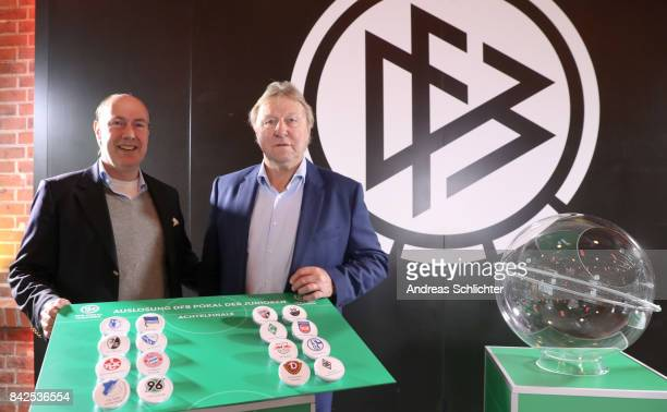 Christian Pothe and Horst Hrubesch of DFBPokal Junioren Cupdraw on September 4 2017 in Stuttgart Germany