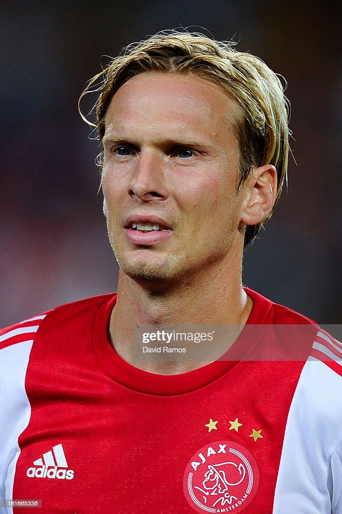 <a gi-track='captionPersonalityLinkClicked' href=/galleries/search?phrase=Christian+Poulsen&family=editorial&specificpeople=228068 ng-click='$event.stopPropagation()'>Christian Poulsen</a> of Ajax Amsterdam looks on prior to the UEFA Champions League Group H match between FC Barcelona and Ajax Amsterdam at the Camp Nou stadium on September 18, 2013 in Barcelona, Spain.
