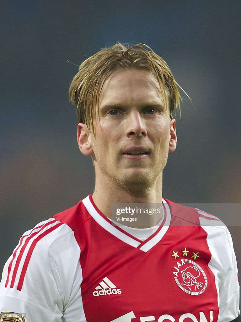 Christian Poulsen of Ajax during the Dutch Eredivise match between Ajax Amsterdam and Feyenoord at the Amsterdam Arena on January 20, 2013 in Amsterdam, The Netherlands.