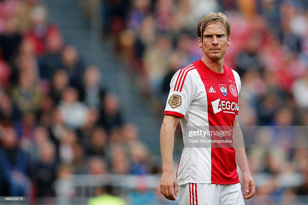 <a gi-track='captionPersonalityLinkClicked' href=/galleries/search?phrase=Christian+Poulsen&family=editorial&specificpeople=228068 ng-click='$event.stopPropagation()'>Christian Poulsen</a> of Ajax looks on during the Eredivisie match between Ajax Amsterdam and NEC Nijmegen at Amsterdam Arena on May 3, 2014 in Amsterdam, Netherlands.