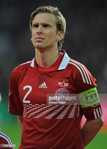 Christian Poulsen of Denmark looks on before the international friendly match between Denmark and England at Parken Stadium on February 9 2011 in...