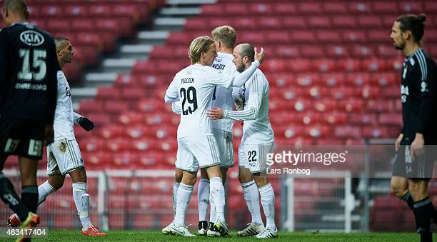 Christian Poulsen of FC Copenhagen and goalscorer Steve De Ridder of FC Copenhagen celebrate their 11 goal during the PreSeason Friendly match...