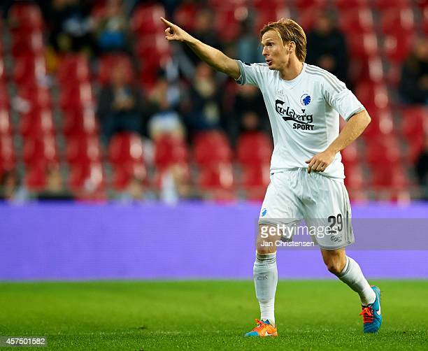 Christian Poulsen of FC Copenhagen giving instructions during the Danish Superliga match between FC Copenhagen and Randers FC at Telia Parken Stadium...