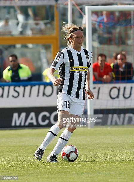 Christian Poulsen of Juventus FC with with the ball during the Serie A match between Catania and Juventus at Stadio Angelo Massimino on May 2 2010 in...