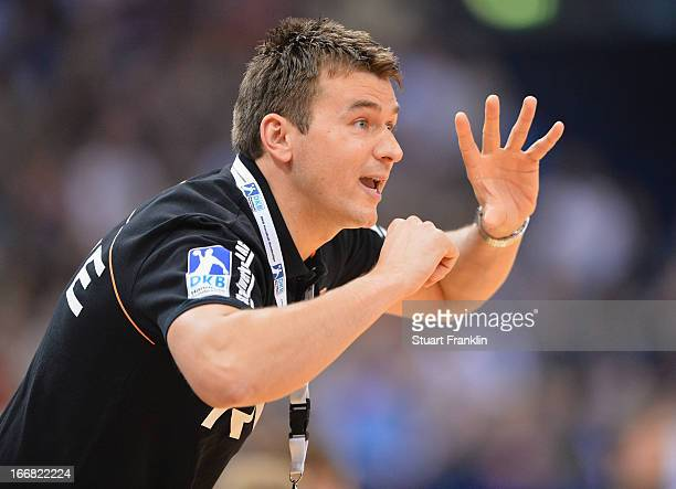 Christian Prokop head coach of Essen gestures during the DKB Bundesliga handball game between HSV Hamburg and TUSEM Essen at O2 World on April 17...