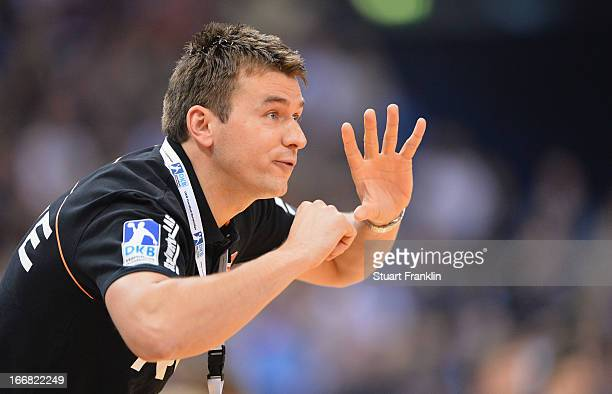Christian Prokop head coach of Essen gestures during the DKB Bundesliga handball game between HSV Hamburg and TUSEM Essen at O2 World on April 17...