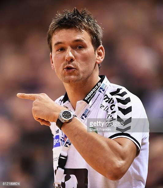 FLENSBURG GERMANY FEBRUARY 24 Christian Prokop head coach of Leipzig gestures during the DKB Bundesliga handball match between SG Flensburg Handewitt...