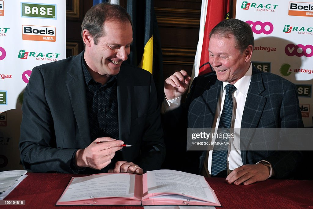 Christian Prudhomme, cycling director of ASO (Amaury Sport Organisation) and Andre Gilles, deputy, Provincial-President of the Liege Province attend a presentation of the 'Les Classiques ardennaises' cycling race between La Fleche Wallonne and Liege-Bastogne, on April 9, 2013, in Liege.