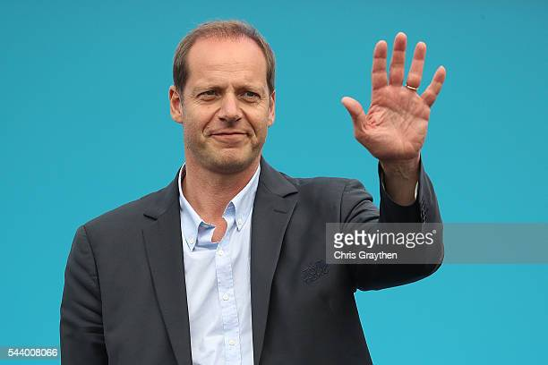 Christian Prudhomme director of Le Tour de France stands on stage during the team presentation ahead of the 2016 Le Tour de France on June 30 2016 in...