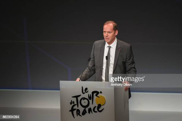 Christian Prudhomme director of the tour during the presentation of the Tour de France 2018 at Palais des Congres on October 17 2017 in Paris France