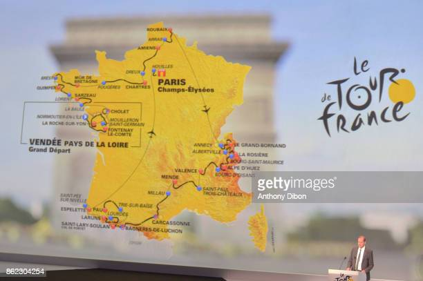 Christian Prudhomme director of the tour shows the map during the presentation of the Tour de France 2018 at Palais des Congres on October 17 2017 in...