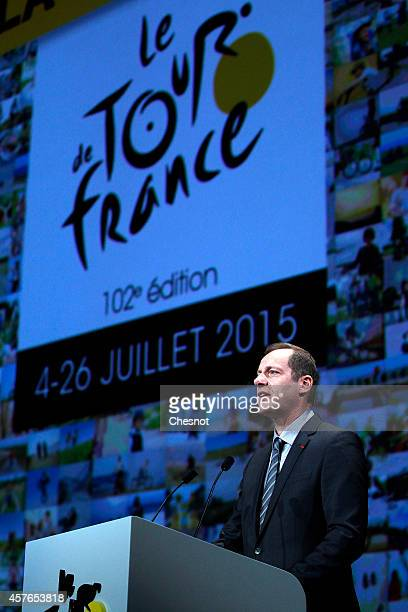 Christian Prudhomme General Director of the Tour de France delivers his speech during the presentation of the Tour de France 2015 on October 22 2014...