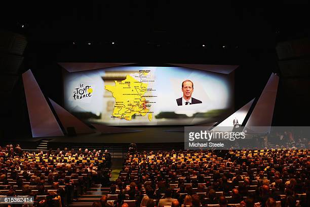 Christian Prudhomme the Director of Le Tour de France addresses the audience during Le Tour de France 2017 Route Announcement at the Palais des...