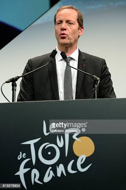 Christian Prudhomme the Director of Le Tour de France addresses the audience during Le Tour de France 2017 Route Announcement at the Palais des...