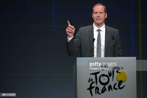 Christian Prudhomme the Director of Le Tour de France addresses the audience during Le Tour de France 2018 Route Announcement at the Palais des...