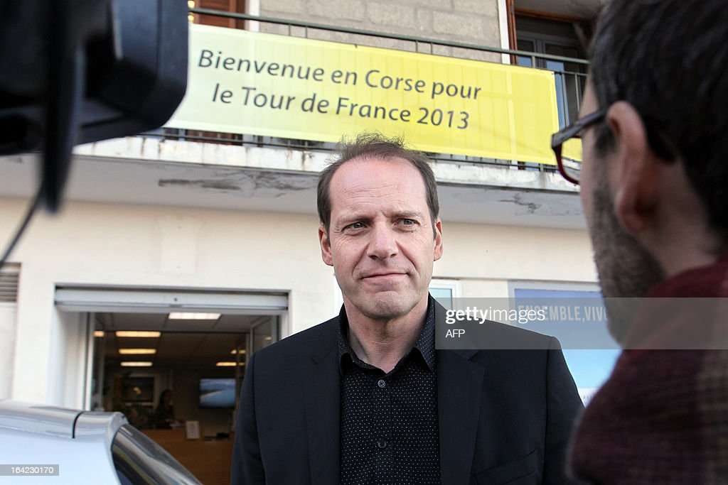 Christian Prudhomme, Tour de France cycling race director, answers AFP journalists on March 21, 2013 for the hundred days before the start of the Tour de France cycling race which will start in Porto Vecchio, Corsica.
