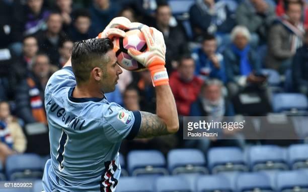 Christian Puggioni goalkeeper of Sampdoria during the Serie A match between UC Sampdoria and FC Crotone at Stadio Luigi Ferraris on April 23 2017 in...