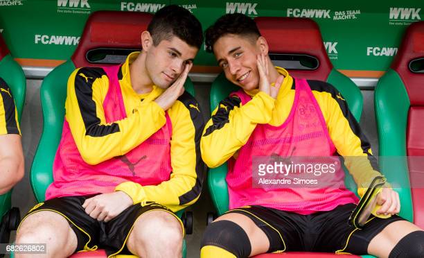 Christian Pulisic and Emre Mor of Borussia Dortmund prior to the Bundesliga match between FC Augsburg and Borussia Dortmund at the WWKArena on May 13...