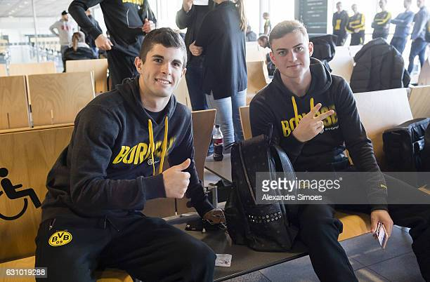 Christian Pulisic and Jacob Bruun Larsen of Borussia Dortmund before leaving for their training camp in Marbella at the Dortmund Airport on January...