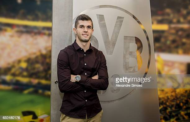 Christian Pulisic attends his contract extension signing for Borussia Dortmund on January 23 2017 in Dortmund Germany