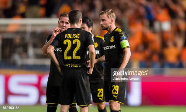 Christian Pulisic Mario Goetze and Marcel Schmelzer of Borussia Dortmund together during the UEFA Champions League group H match between APOEL...