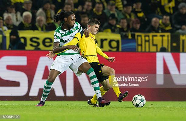 Christian Pulisic of Borussia Dortmund challenges Ruben Semedo of Sporting Clube de Portugal during the UEFA Champions League First Qualifying Round...