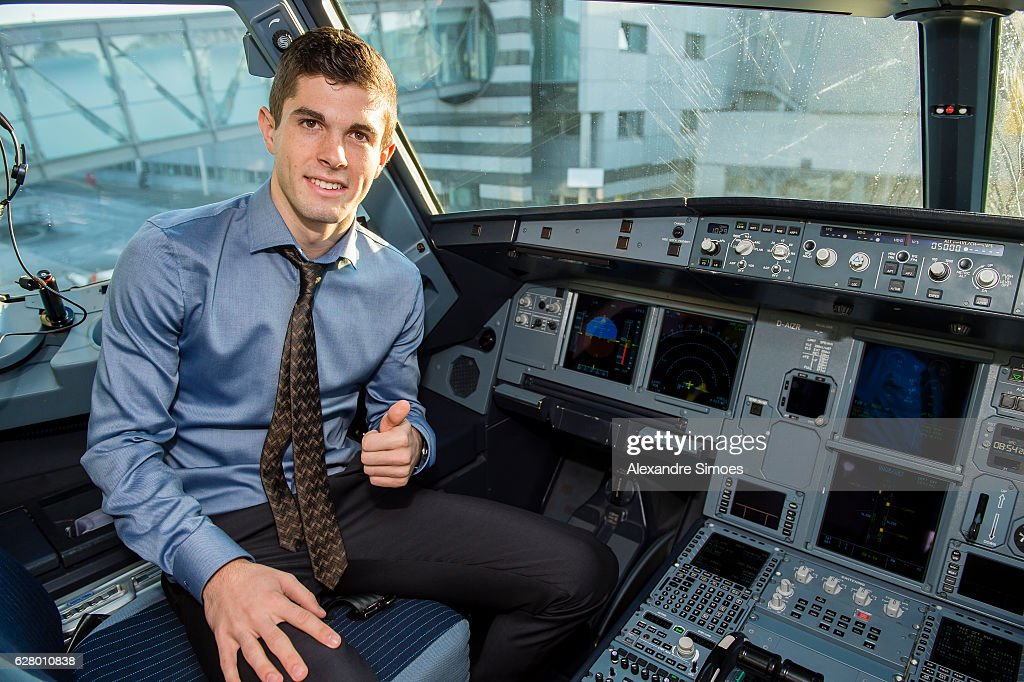 Christian Pulisic of Borussia Dortmund depature from Dortmund airport in the plan prior to the UEFA Champions League match between Real Madrid and Borussia Dortmund at Estadio Santiago Bernabeu on December 6, 2016 in Madrid, Spain.
