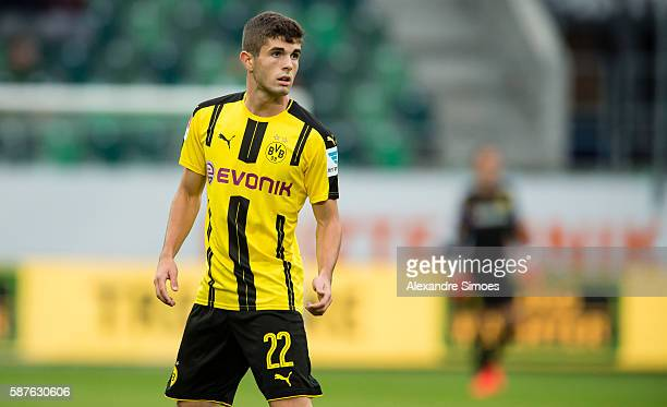 Christian Pulisic of Borussia Dortmund during the friendly match between Athletic Bilbao and Borussia Dortmund at AFG Arena on August 09 2016 in St...