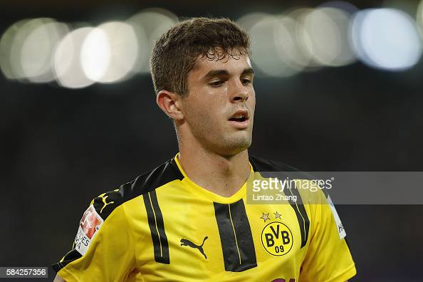Christian Pulisic of Borussia Dortmund in action during the 2016 International Champions Cup match between Manchester City and Borussia Dortmund at...